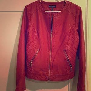 Jackets & Blazers - Red faux leather Moto jacket